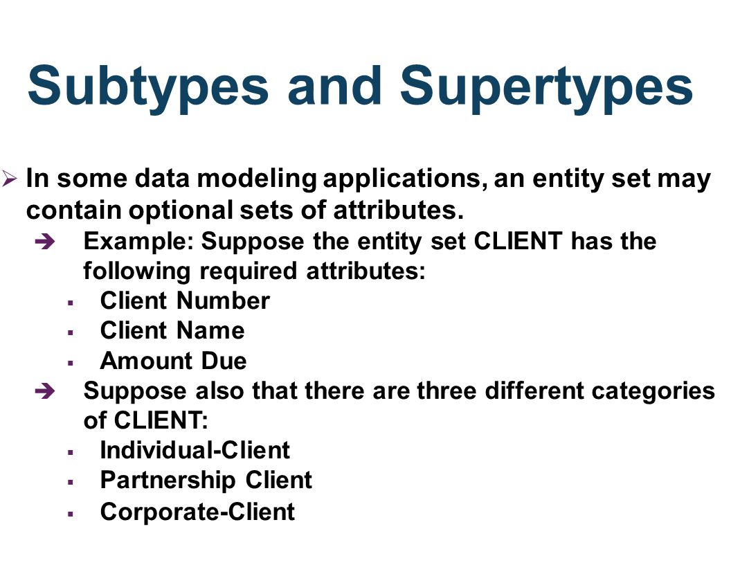 Subtypes and Supertypes