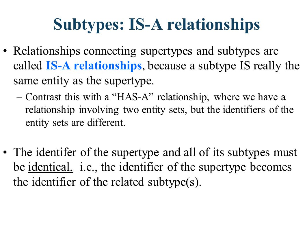 Subtypes: IS-A relationships