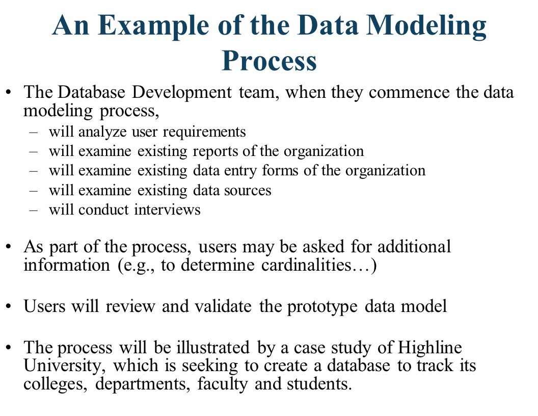 An Example of the Data Modeling Process