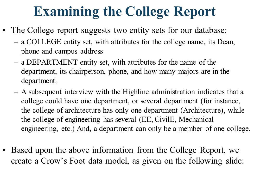 Examining the College Report