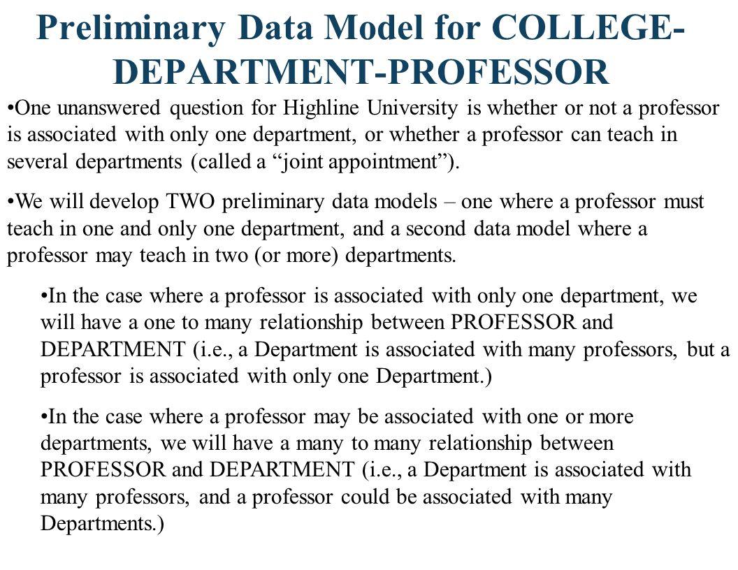 Preliminary Data Model for COLLEGE-DEPARTMENT-PROFESSOR