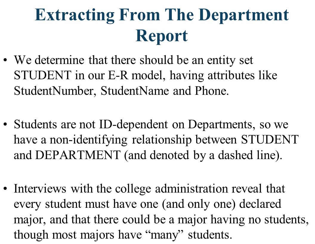 Extracting From The Department Report