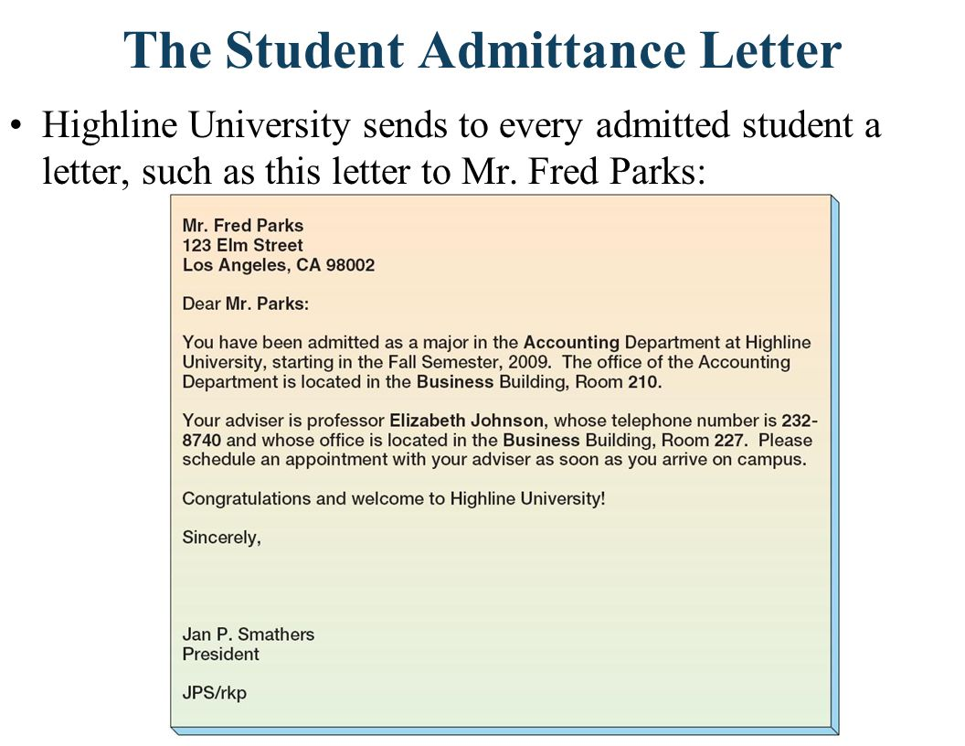 The Student Admittance Letter