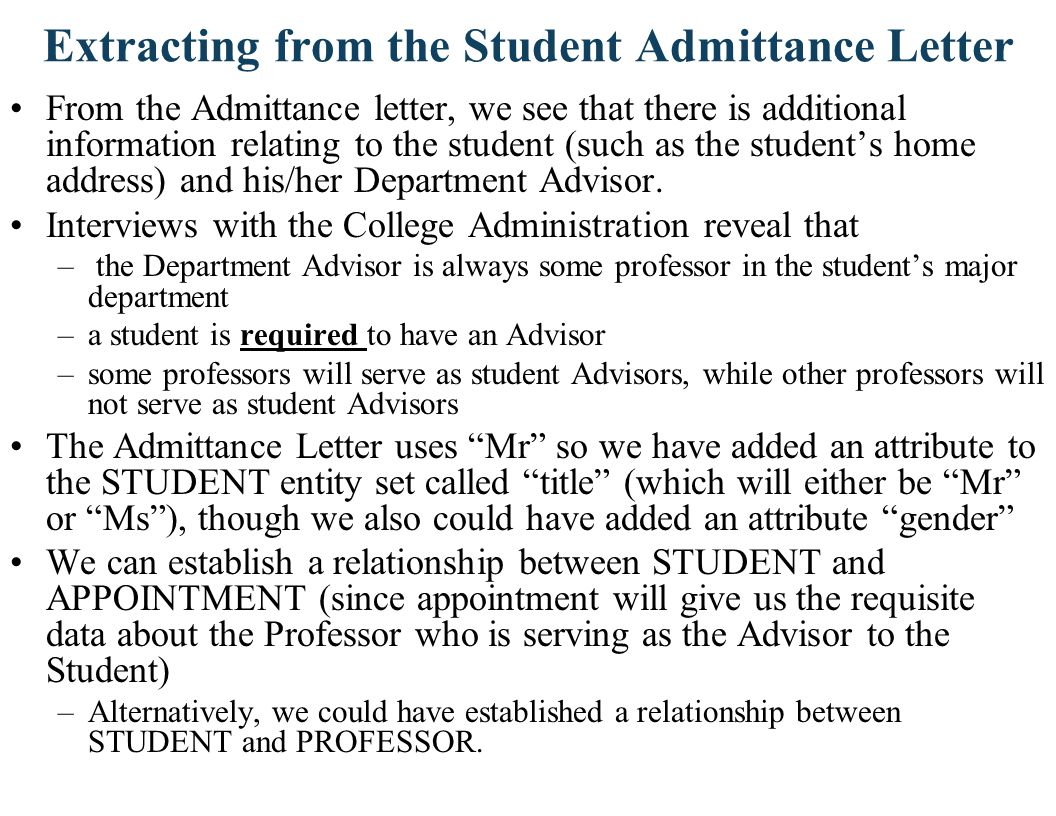 Extracting from the Student Admittance Letter