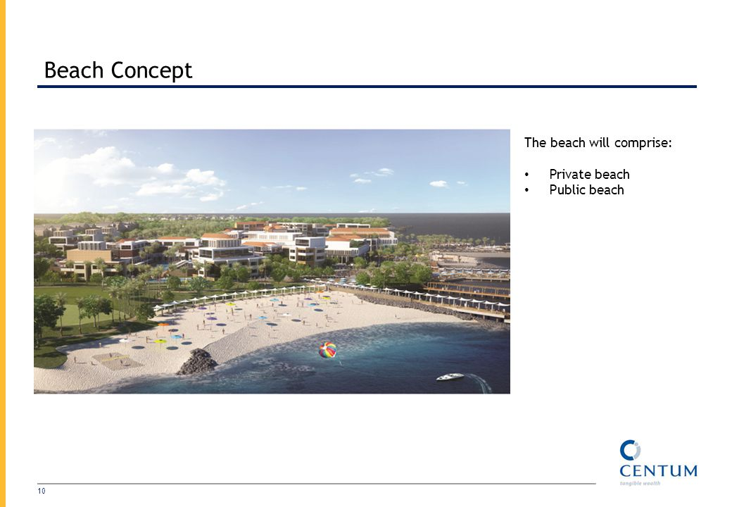 Beach Concept The beach will comprise: Private beach Public beach