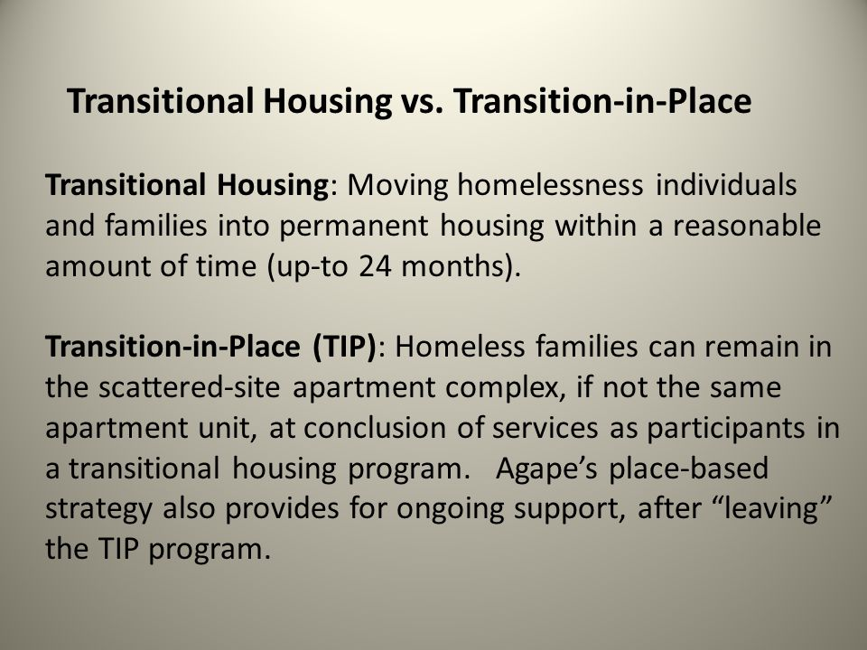 Transitional Housing vs. Transition-in-Place