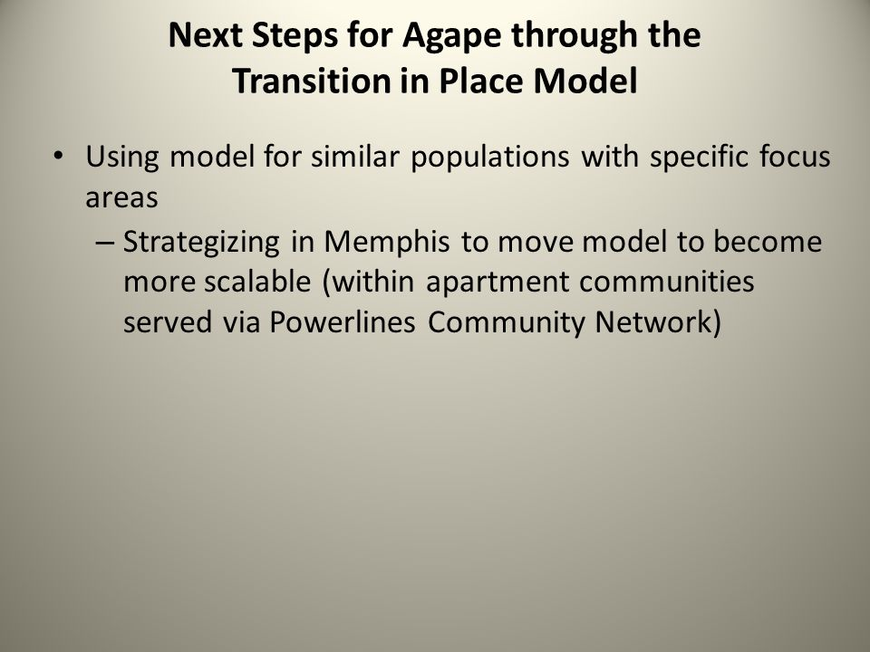 Next Steps for Agape through the Transition in Place Model