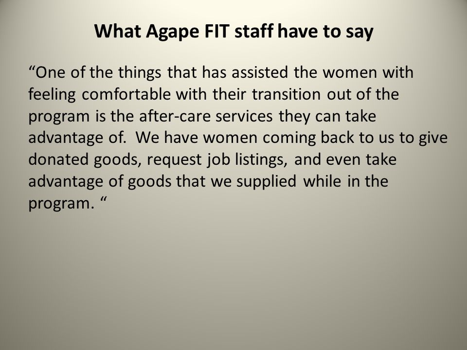 What Agape FIT staff have to say