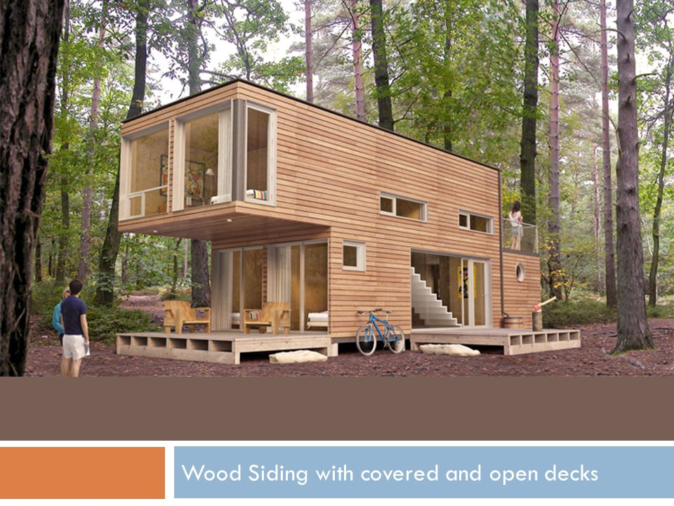Wood Siding with covered and open decks
