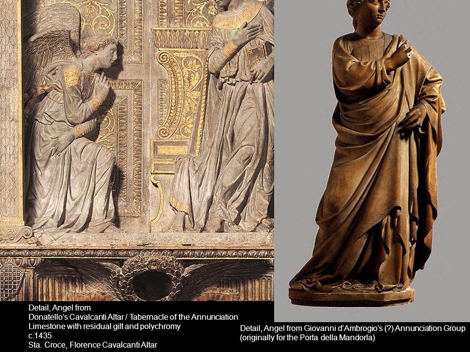 Detail, Angel from Donatello's Cavalcanti Altar / Tabernacle of the Annunciation. Limestone with residual gilt and polychromy.