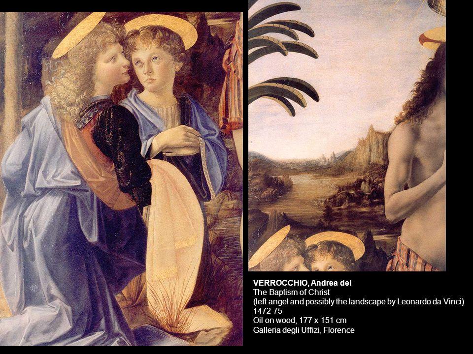 VERROCCHIO, Andrea del The Baptism of Christ (left angel and possibly the landscape by Leonardo da Vinci)
