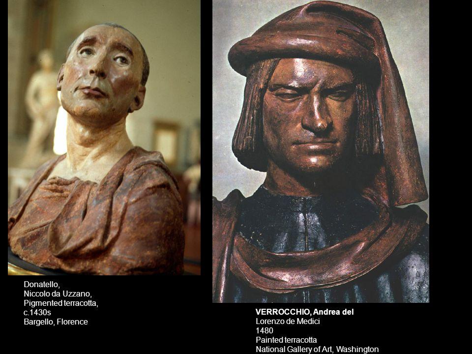 Donatello, Niccolo da Uzzano, Pigmented terracotta, c.1430s. Bargello, Florence.