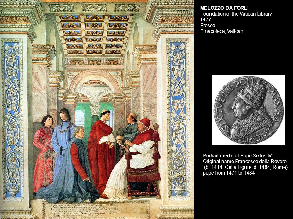 MELOZZO DA FORLI Foundation of the Vatican Library 1477 Fresco Pinacoteca, Vatican