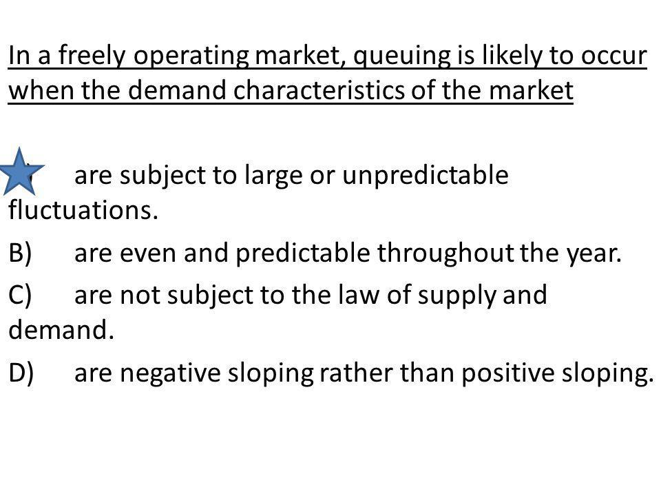 In a freely operating market, queuing is likely to occur when the demand characteristics of the market