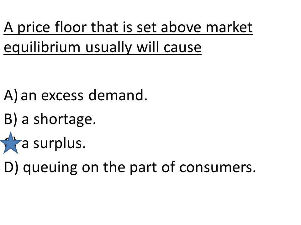 A price floor that is set above market equilibrium usually will cause