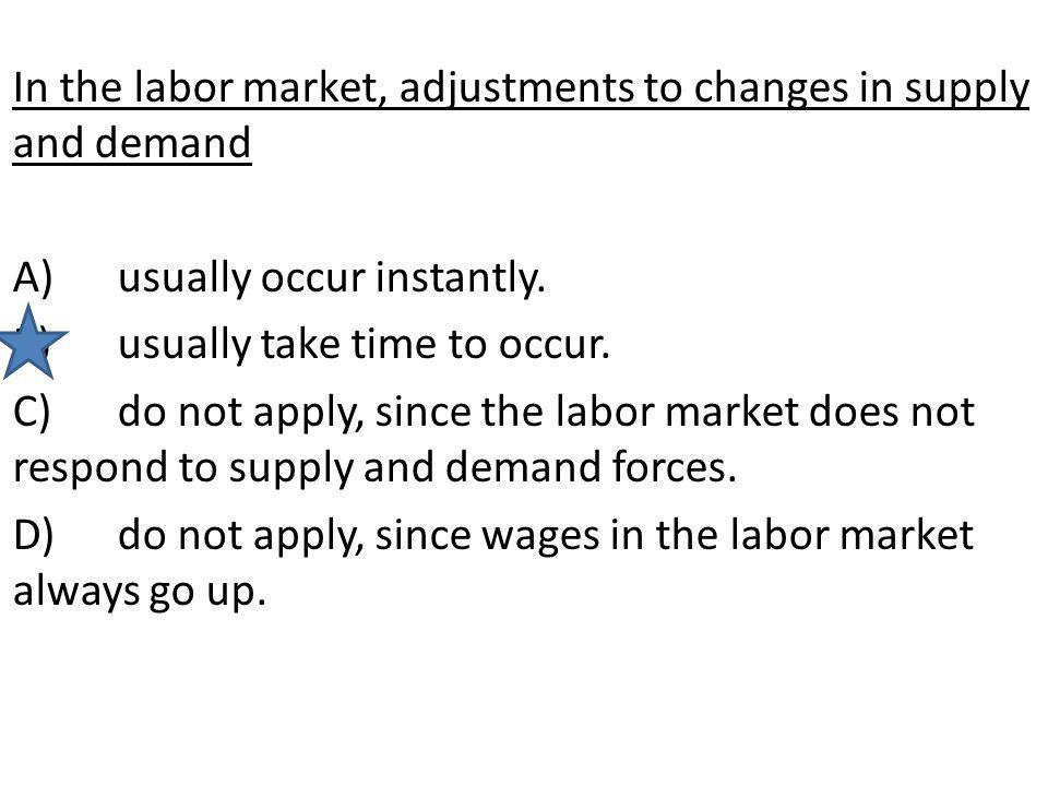 In the labor market, adjustments to changes in supply and demand