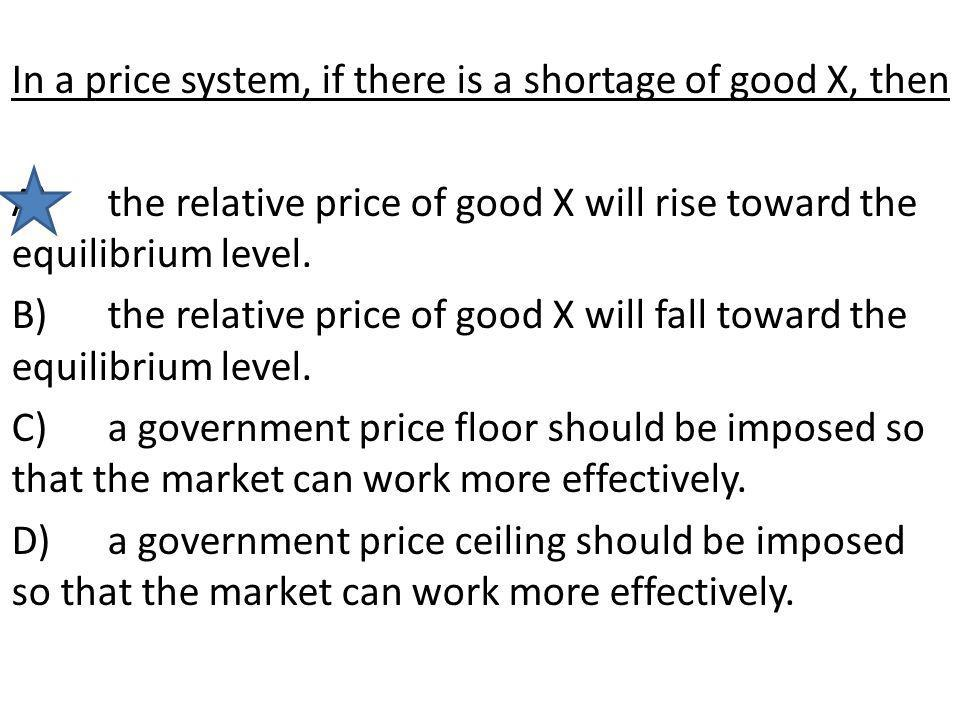 In a price system, if there is a shortage of good X, then