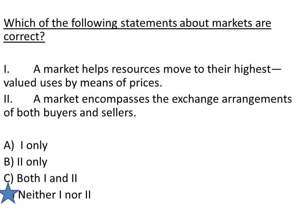 Which of the following statements about markets are correct