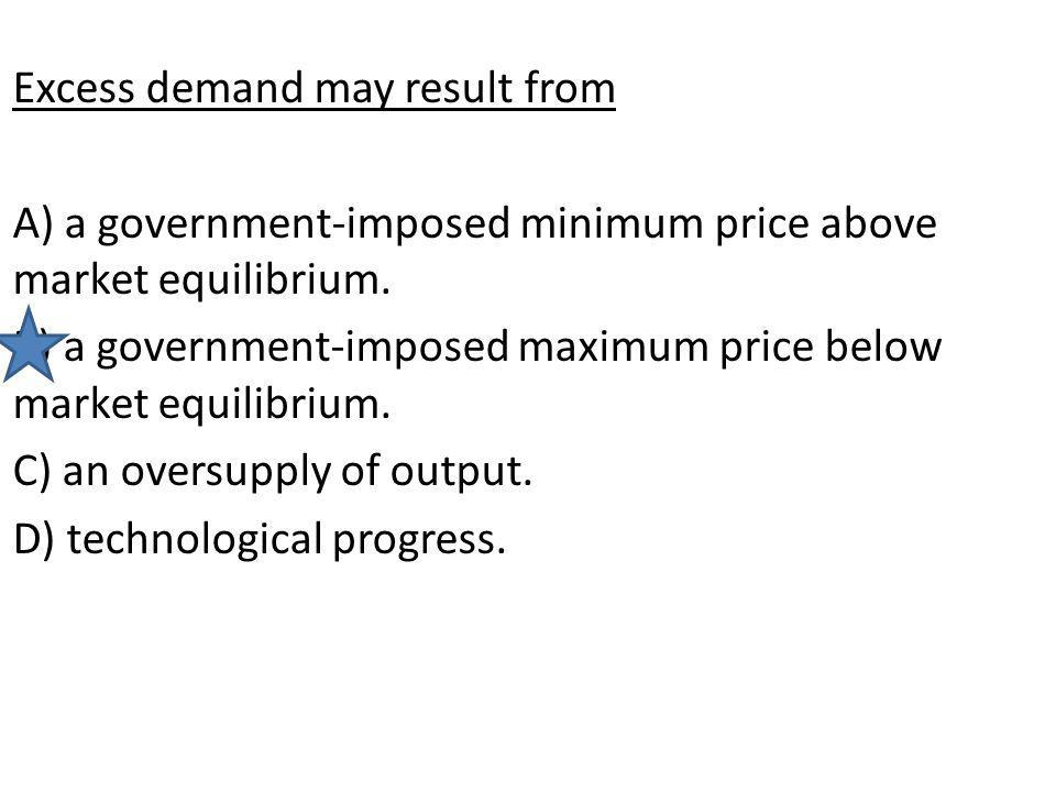Excess demand may result from