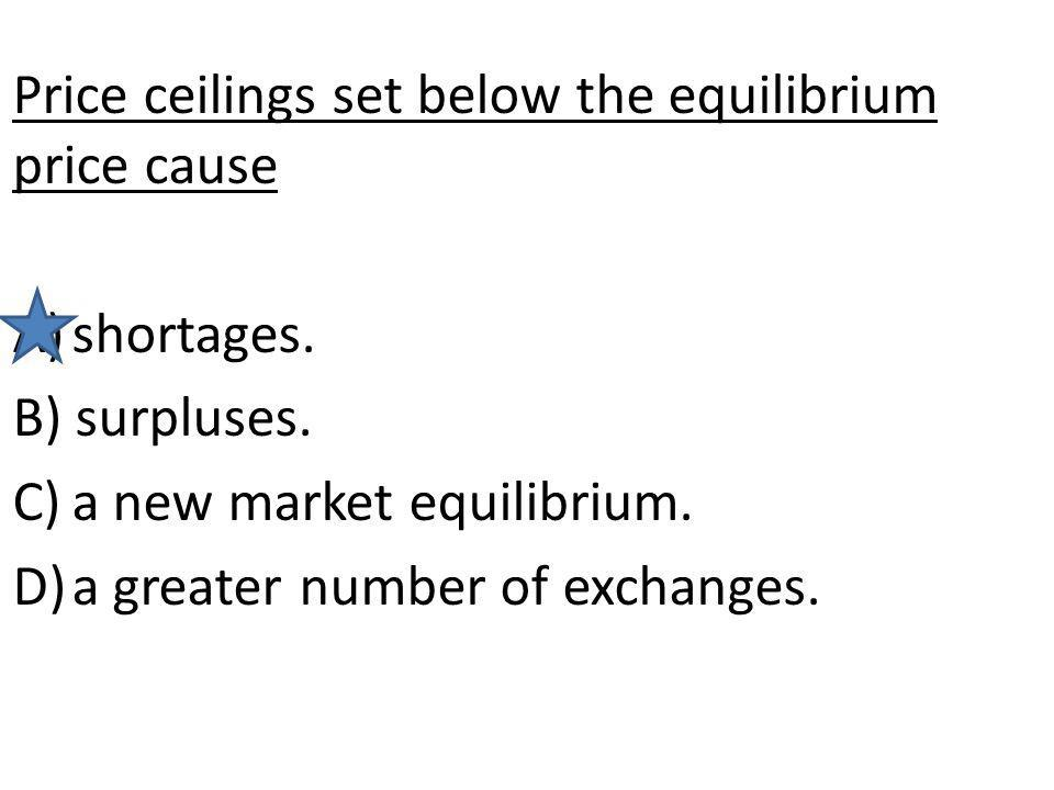 Price ceilings set below the equilibrium price cause