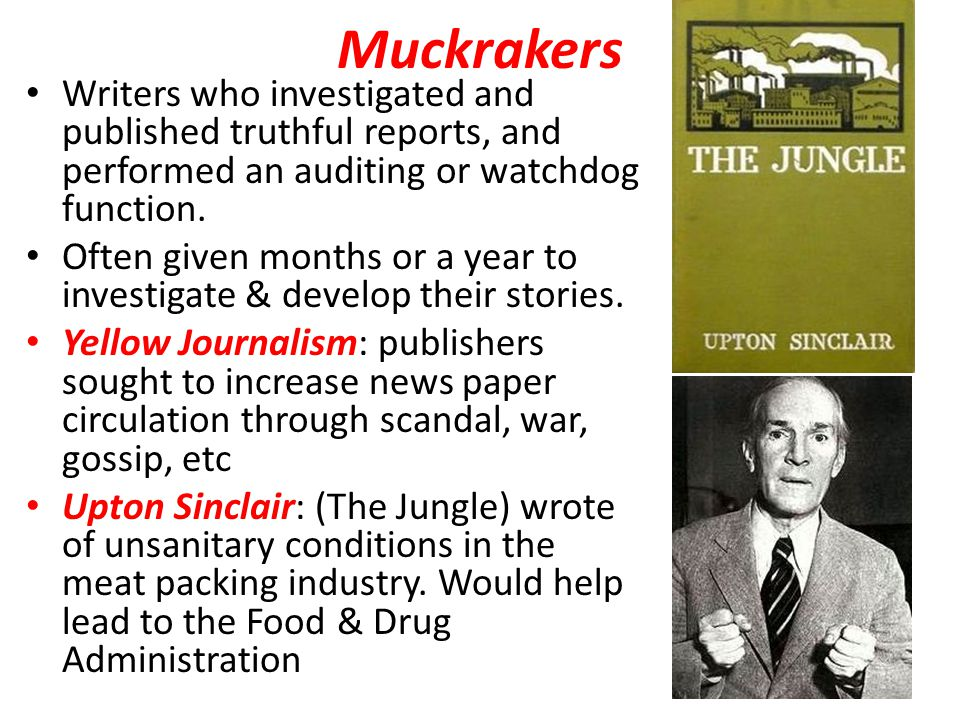 Muckrakers Writers who investigated and published truthful reports, and performed an auditing or watchdog function.
