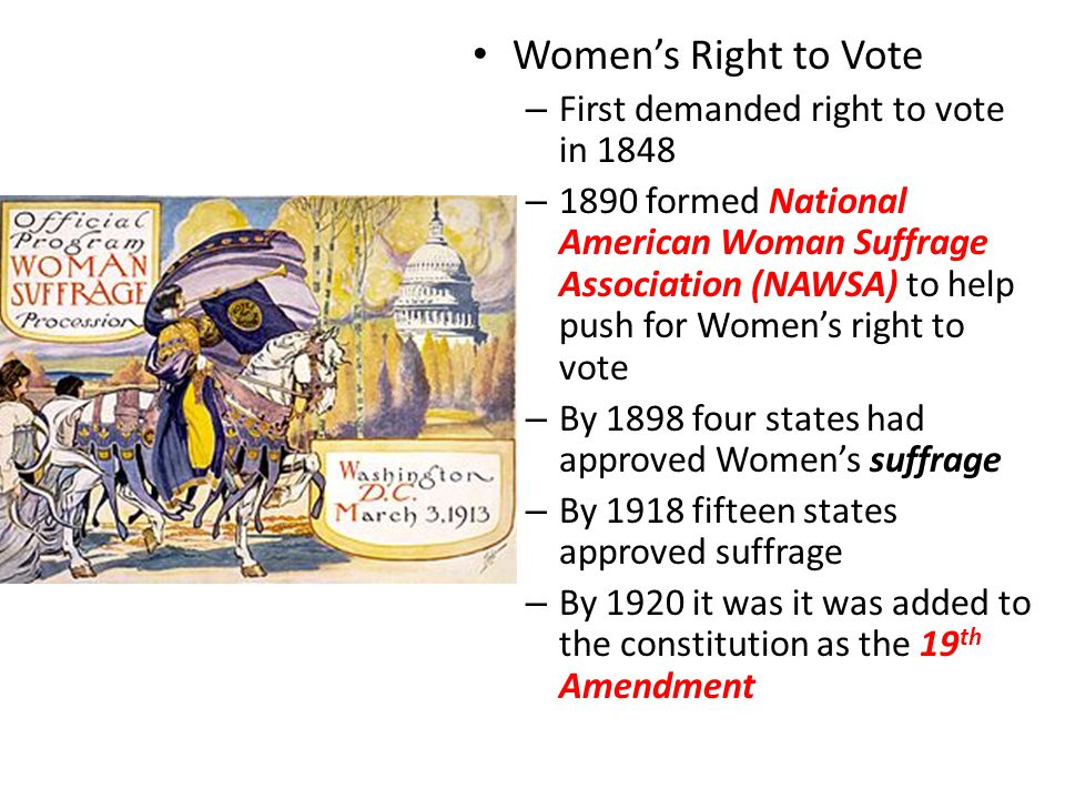 Women's Right to Vote First demanded right to vote in 1848