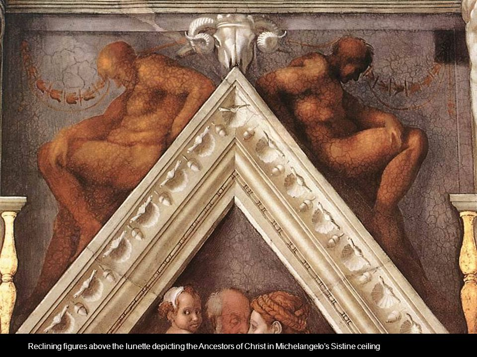 Reclining figures above the lunette depicting the Ancestors of Christ in Michelangelo's Sistine ceiling
