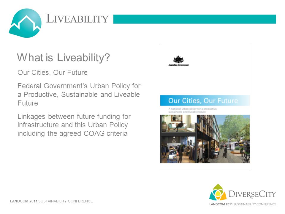 What is Liveability Our Cities, Our Future