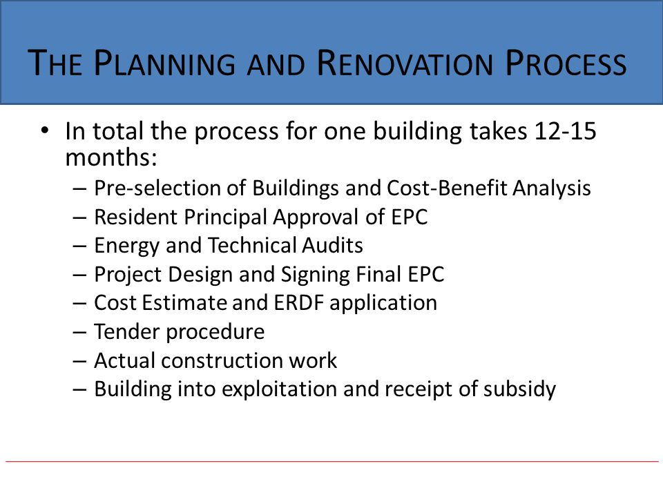 The Planning and Renovation Process