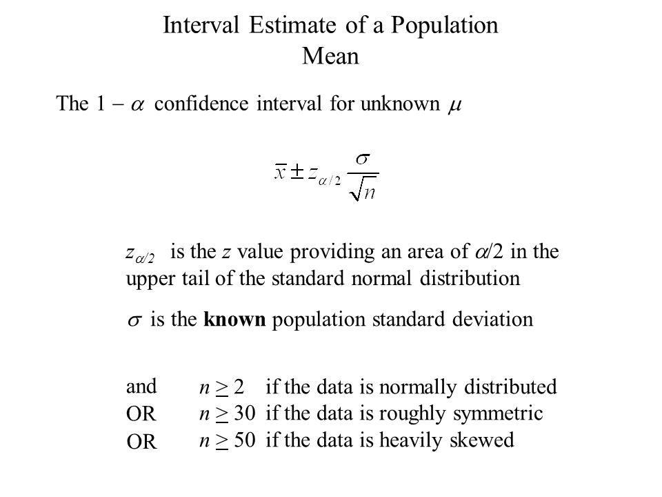 Interval Estimate of a Population Mean