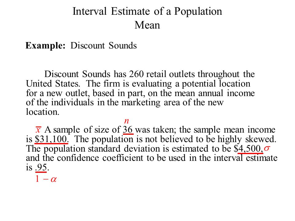 Interval Estimate of a Population
