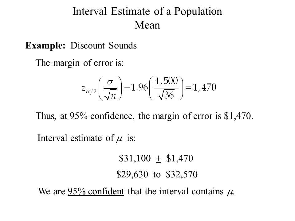 Interval Estimate of a Population