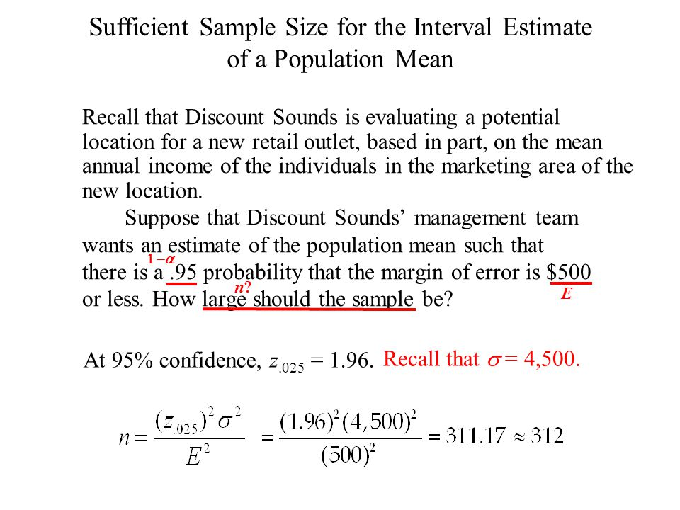 Sufficient Sample Size for the Interval Estimate of a Population Mean