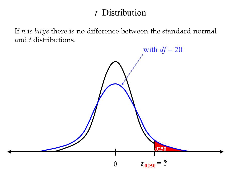 t Distribution with df = 20 t.0250 =