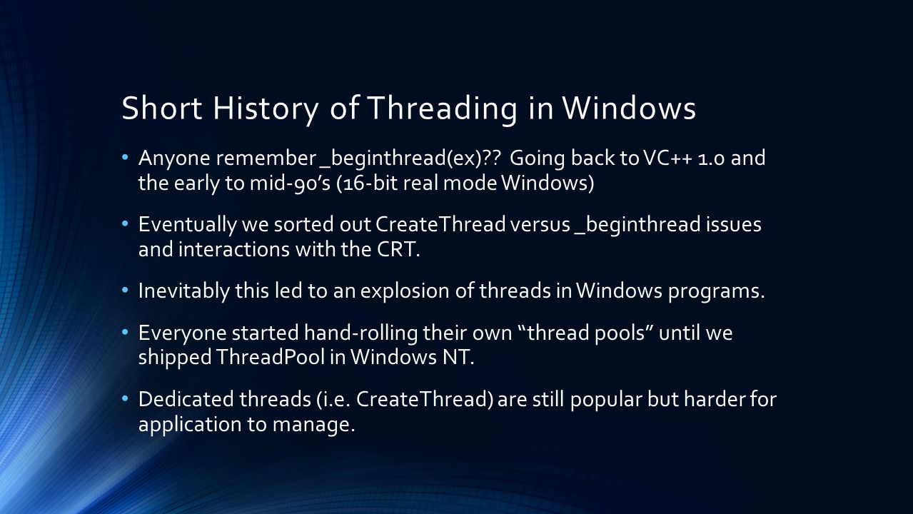 Short History of Threading in Windows