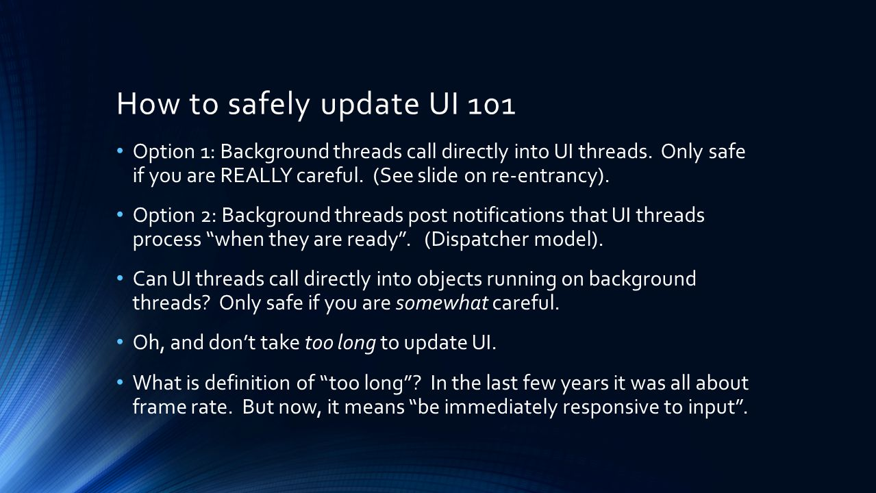 How to safely update UI 101
