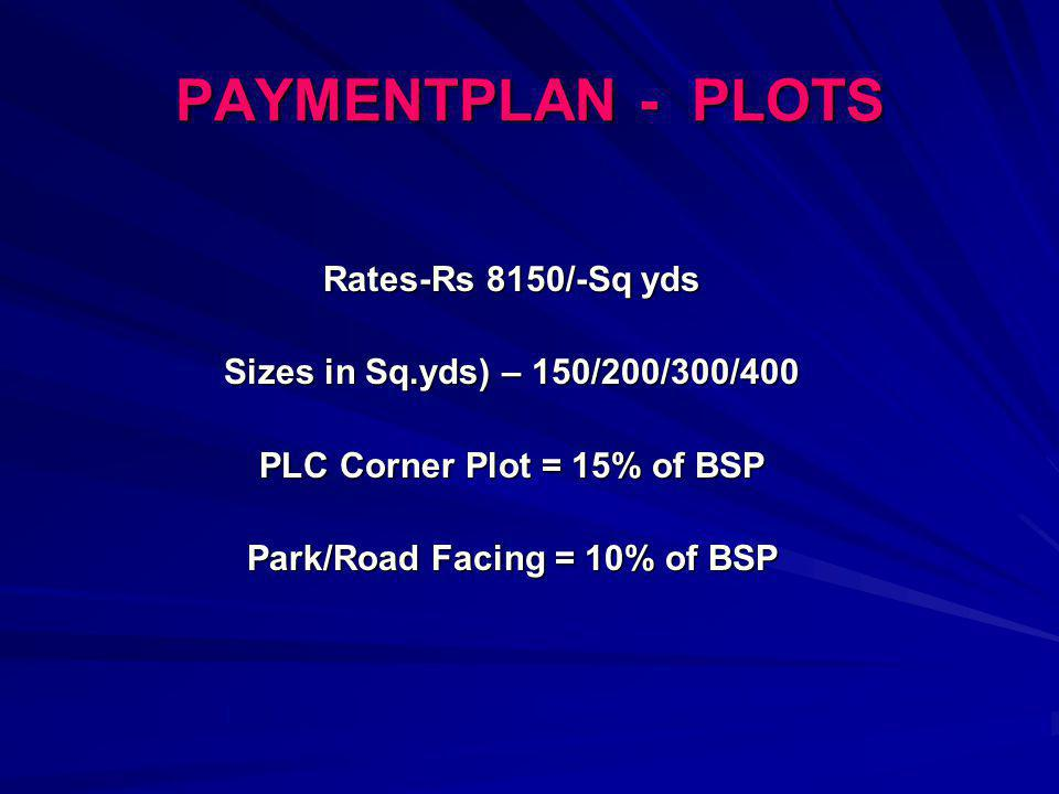 PLC Corner Plot = 15% of BSP Park/Road Facing = 10% of BSP