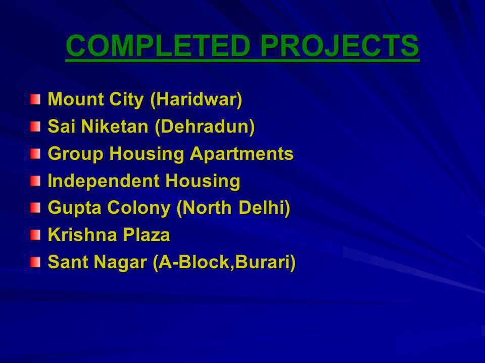 COMPLETED PROJECTS Mount City (Haridwar) Sai Niketan (Dehradun)