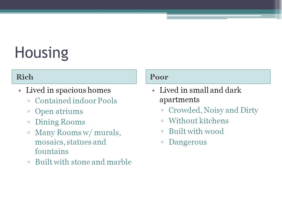 Housing Lived in spacious homes Contained indoor Pools Open atriums