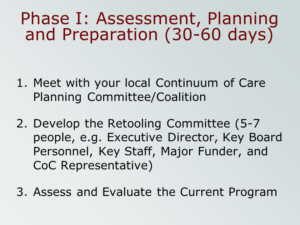 Phase I: Assessment, Planning and Preparation (30-60 days)