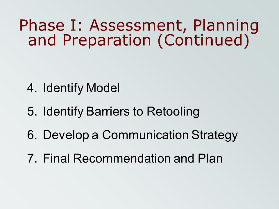 Phase I: Assessment, Planning and Preparation (Continued)