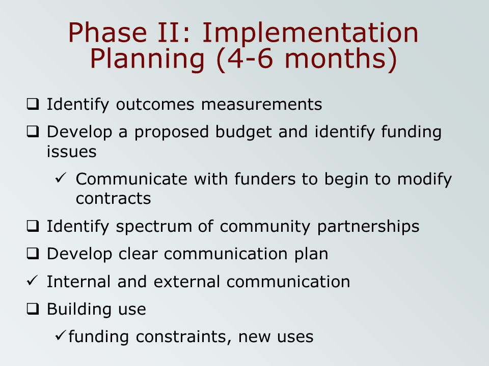 Phase II: Implementation Planning (4-6 months)