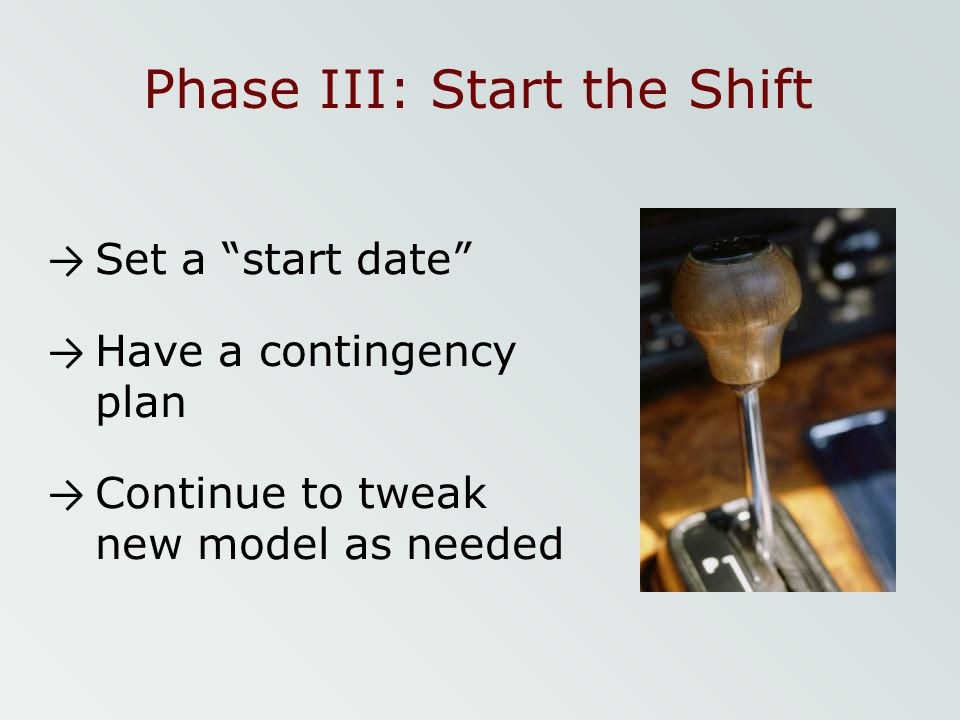 Phase III: Start the Shift