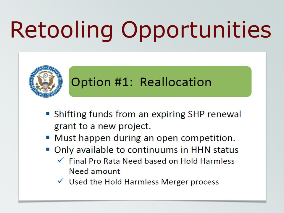 Retooling Opportunities