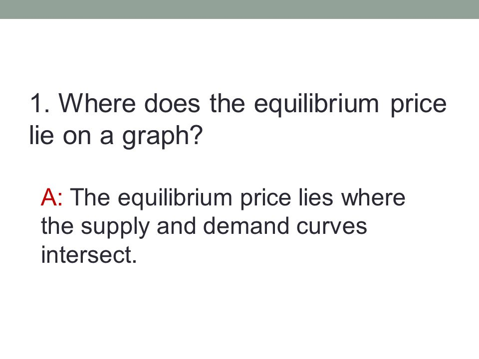1. Where does the equilibrium price lie on a graph