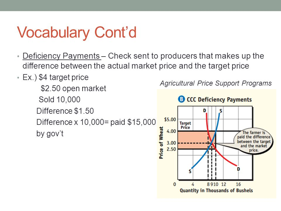 Vocabulary Cont'd Deficiency Payments – Check sent to producers that makes up the difference between the actual market price and the target price.