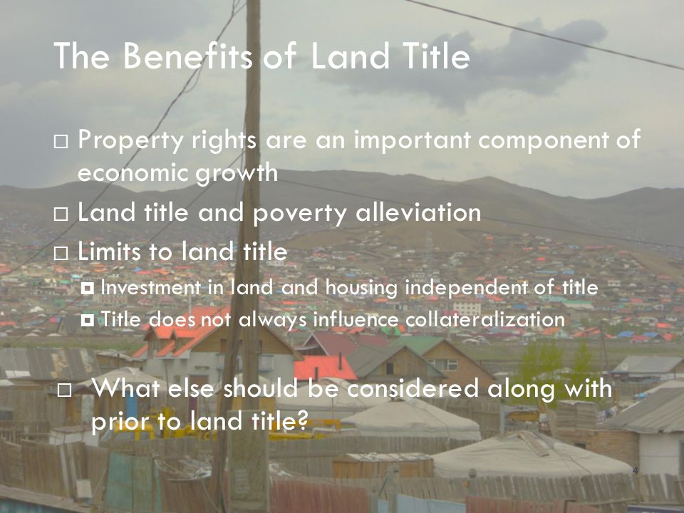 The Benefits of Land Title