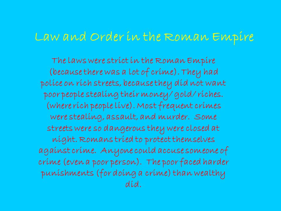 Law and Order in the Roman Empire