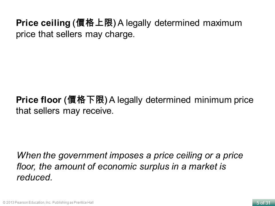 Price ceiling (價格上限) A legally determined maximum price that sellers may charge.