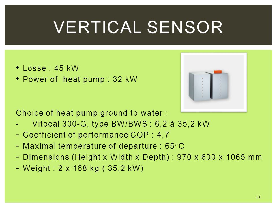 Vertical sensor Losse : 45 kW Power of heat pump : 32 kW